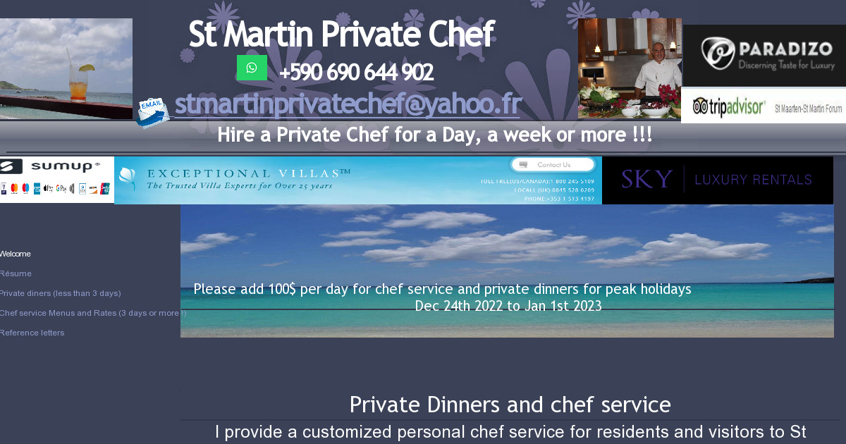 stmartin private chef - Résume
